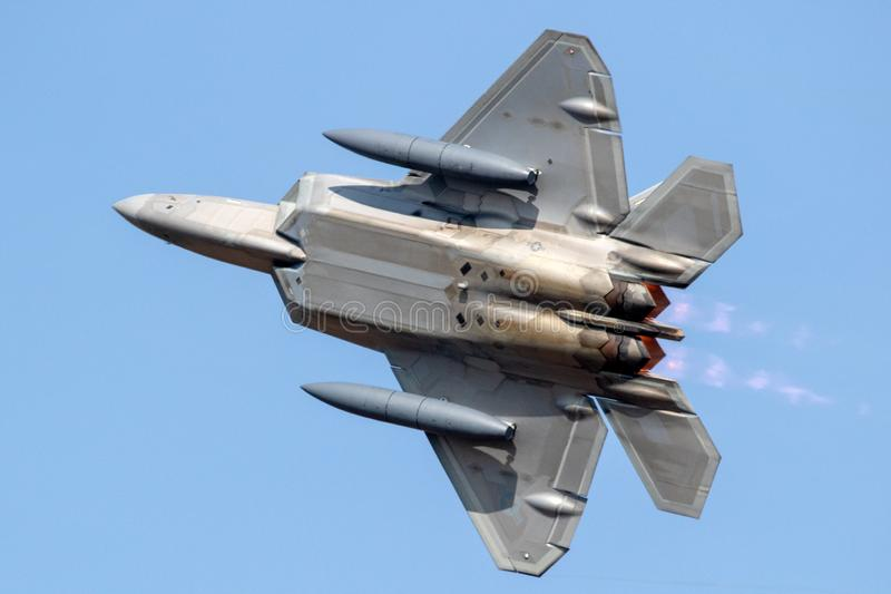 US Air Force Lockheed Martin F-22 Raptor stealth air superiority fighter jet. SPANGDAHLEM, GERMANY - 29 AUG, 2018: US Air Force Lockheed Martin F-22 Raptor stock images