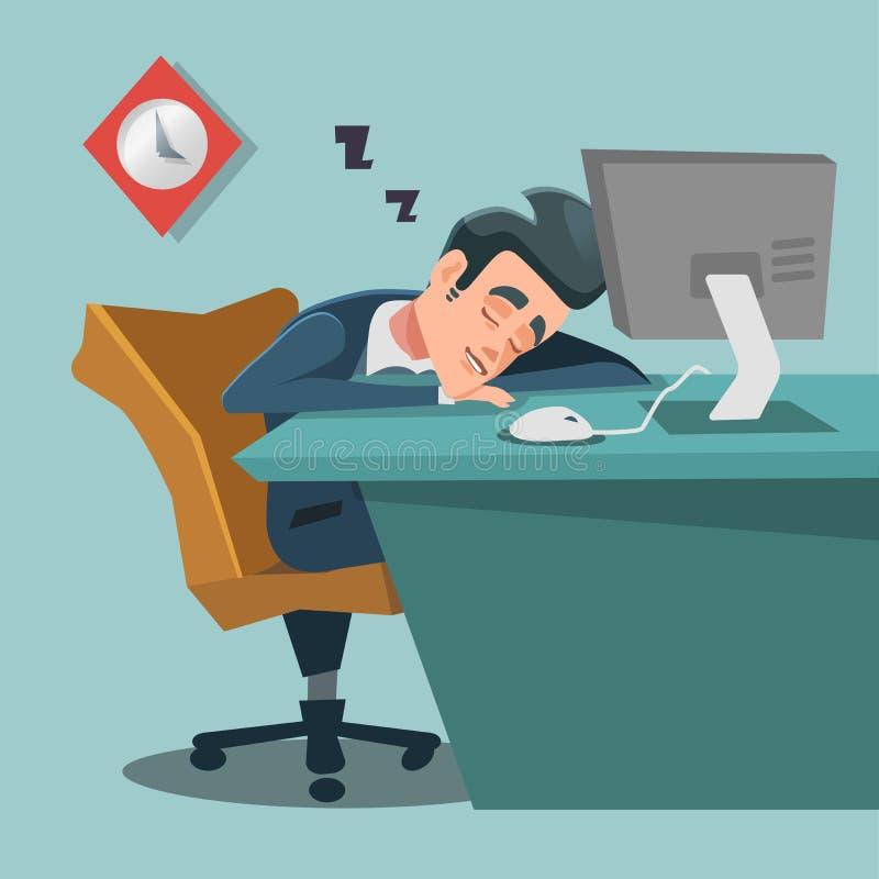 spanie biznesmena Zmęczony Biznesowy mężczyzna przy pracą ilustracji