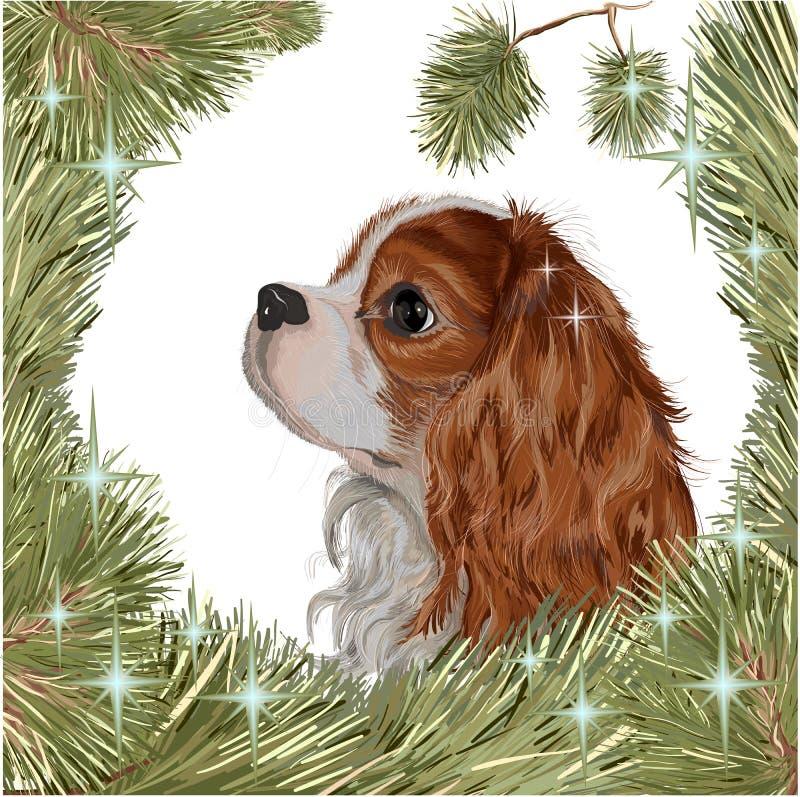 Spaniel des neuen Jahres des Cristmas-Hundetannenbaums 2018 stock abbildung