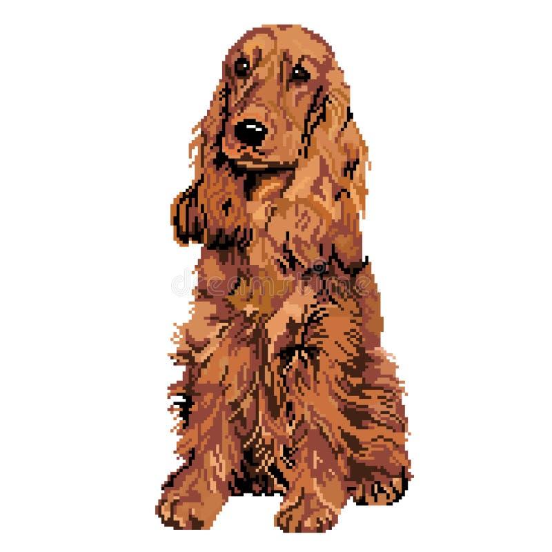 Spaniela pies jest brudno- beżem malującym z kwadratami, piksle również zwrócić corel ilustracji wektora royalty ilustracja