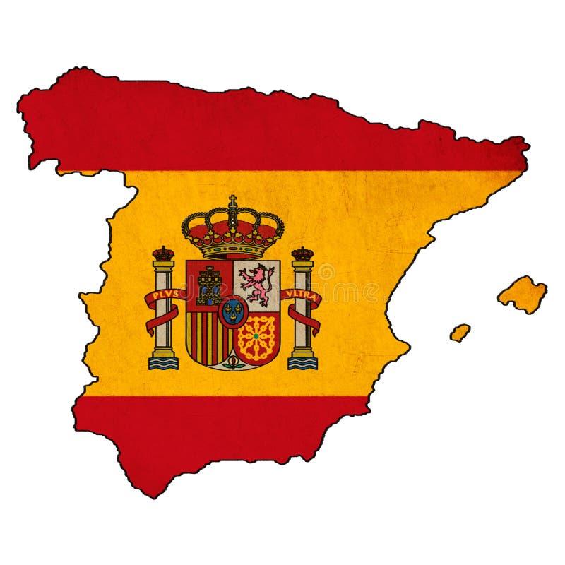 Spanien översikt på Spanien flaggateckning royaltyfri illustrationer