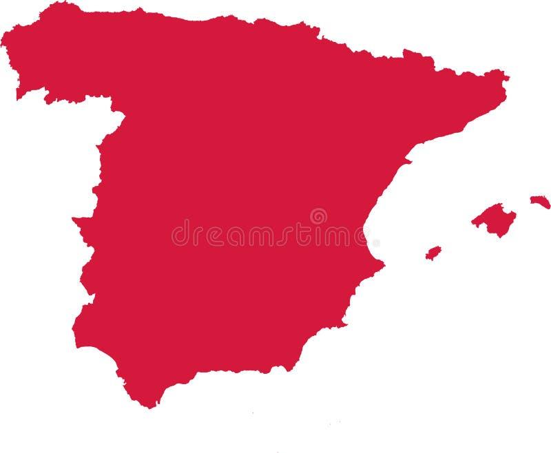 Spanien översiktsvektor vektor illustrationer