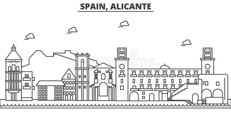 Spanien Alicante arkitekturlinje horisontillustration Linjär vektorcityscape med berömda gränsmärken, stad siktar vektor illustrationer