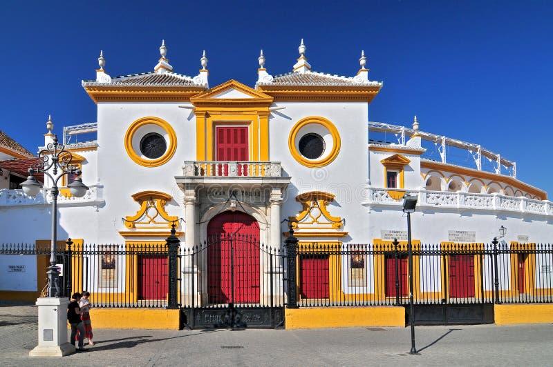 Spanien Andalusia, Sevilla, Plaza de Toros de la Verklig Maestranza de Caballeria de Sevilla arkivbild