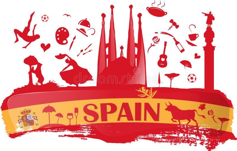 Spanien bakgrund med flaggan och symbol royaltyfri illustrationer