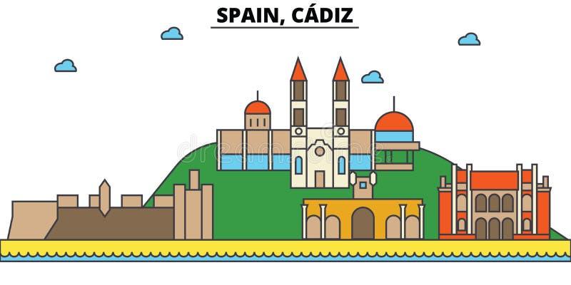 Spanien Cadiz Stadshorisontarkitektur redigerbart royaltyfri illustrationer