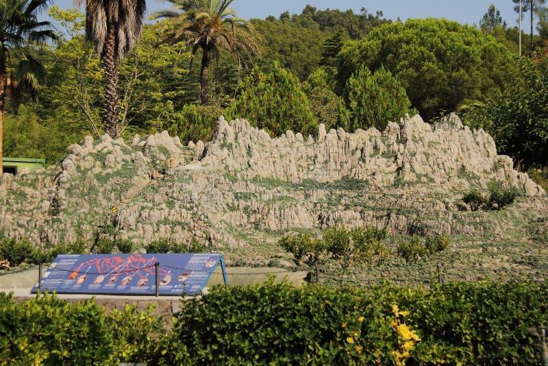 Spanien Catalunya en Miniatura parkerar, august 2018 arkivfoto