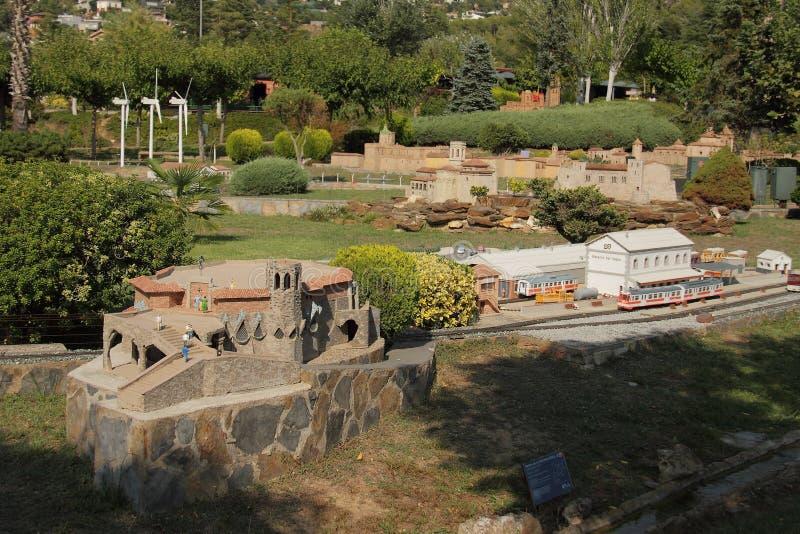 Spanien Catalunya en Miniatura parkerar, august 2018 royaltyfria bilder