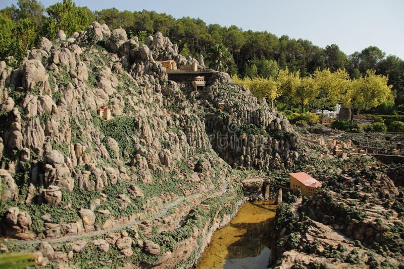 Spanien Catalunya en Miniatura parkerar, august 2018 royaltyfria foton