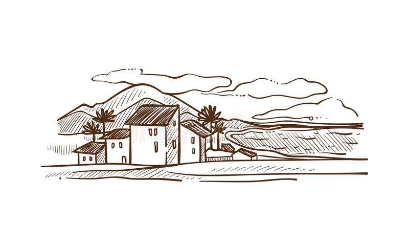 Spanien countrisydelandskap med den vita vektorillustrationen för berg stock illustrationer