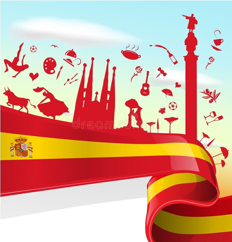 Spanien-Element auf Flagge lizenzfreie abbildung