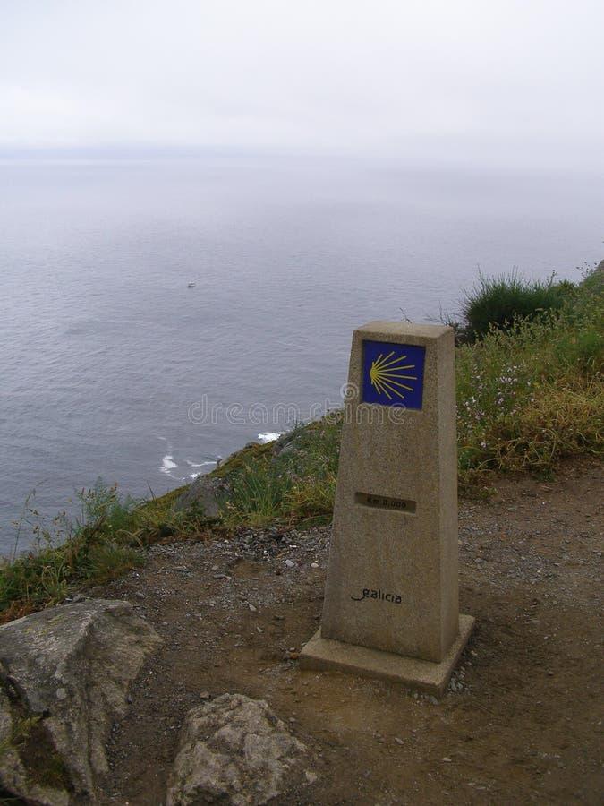 Spanien Fisterra Faro halvö slutet av den Camino kilometern 0 nollSpanien Costa da Morte arkivbild