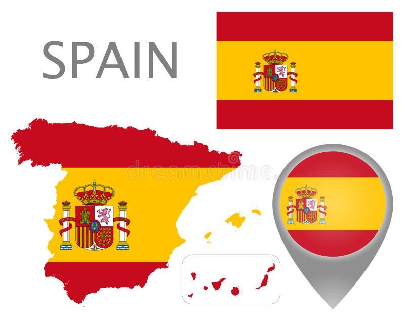 Spanien flagga, översikt och översiktspekare vektor illustrationer