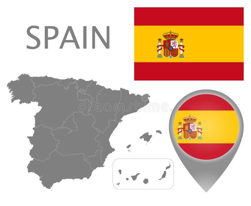 Spanien flagga, översiktspekare och översikt med administrativa uppdelningar stock illustrationer