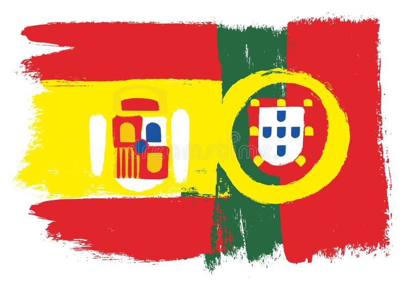 Spanien flagga royaltyfri illustrationer