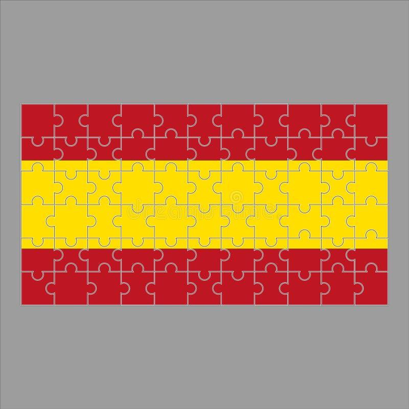 Spanien flagga av pusslet på grå bakgrund vektor illustrationer