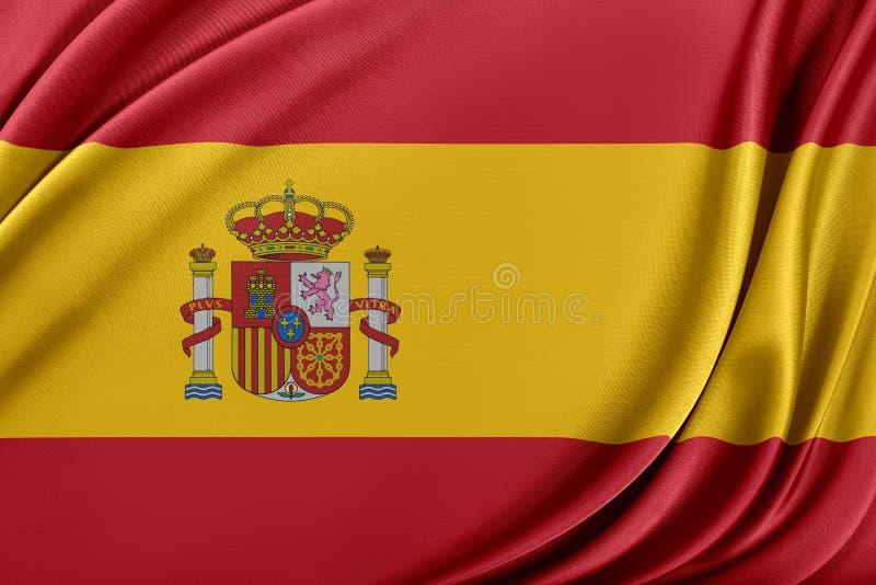 Spanien flagga med en glansig siden- textur vektor illustrationer