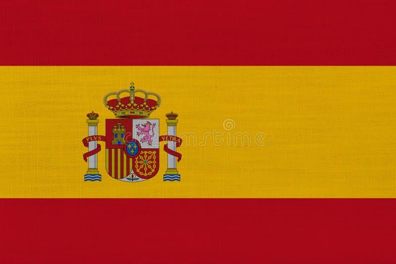 Spanien flagga på linne royaltyfri bild