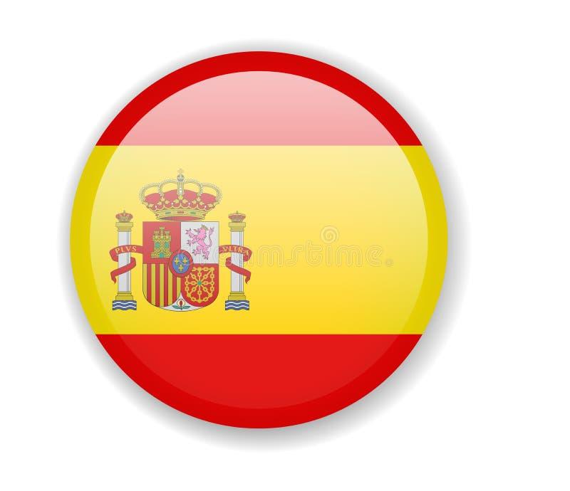 Spanien flagga Rund ljus symbol på en vit bakgrund stock illustrationer