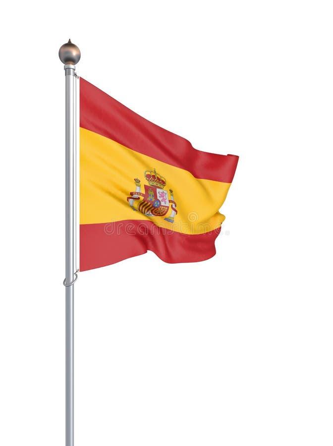 Spanien flagga som bl?ser i vinden f?nster f?r textur f?r bakgrundsdetalj tr?gammalt tolkning 3d; v?g Isolerat p? vit illustratio vektor illustrationer