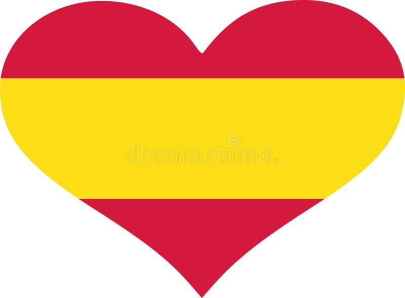 Spanien flaggahjärta royaltyfri illustrationer