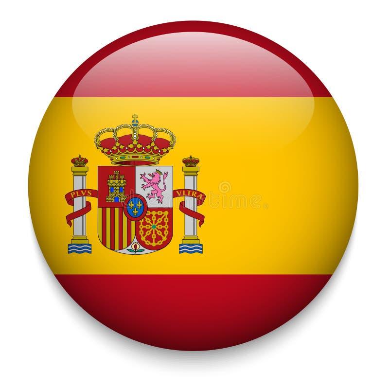 Spanien flaggaknapp royaltyfri illustrationer