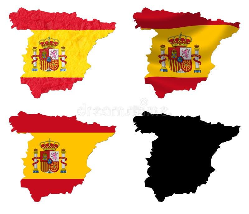 Spanien-Flagge über Karte stock abbildung