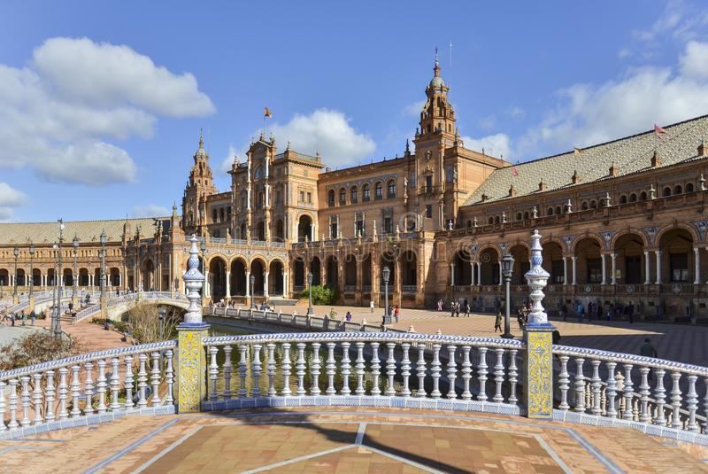 Spanien fyrkant i Sevilla, Spanien arkivbilder