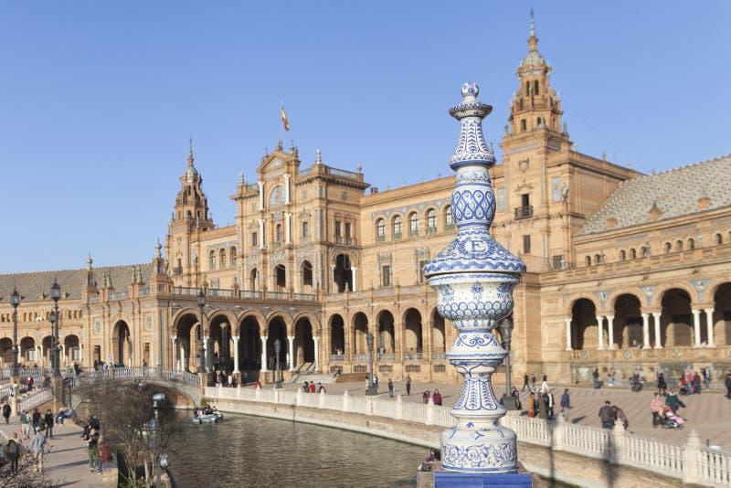 Spanien fyrkant Plaza de España i Seville fotografering för bildbyråer