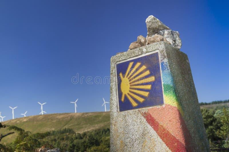 Spanien Galicia, Camino de Santiago Milestone arkivbild