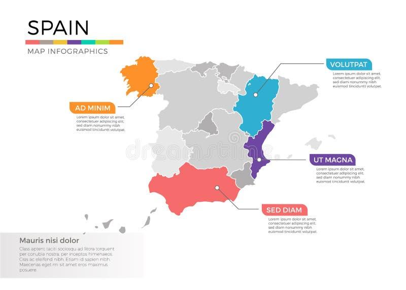 Spanien Regionen Karte.Spanien Regionen Vektor Abbildung Illustration Von Rand 9525149