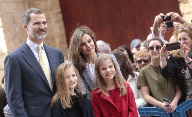 Spanien kungafamiljen royaltyfria bilder