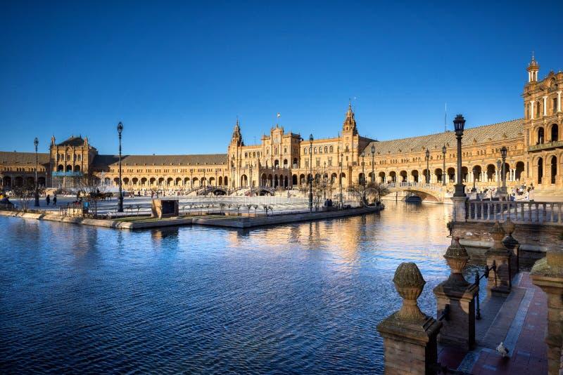 Spanien kvadrerar Plaza de Espana, Seville, Spanien arkivfoton