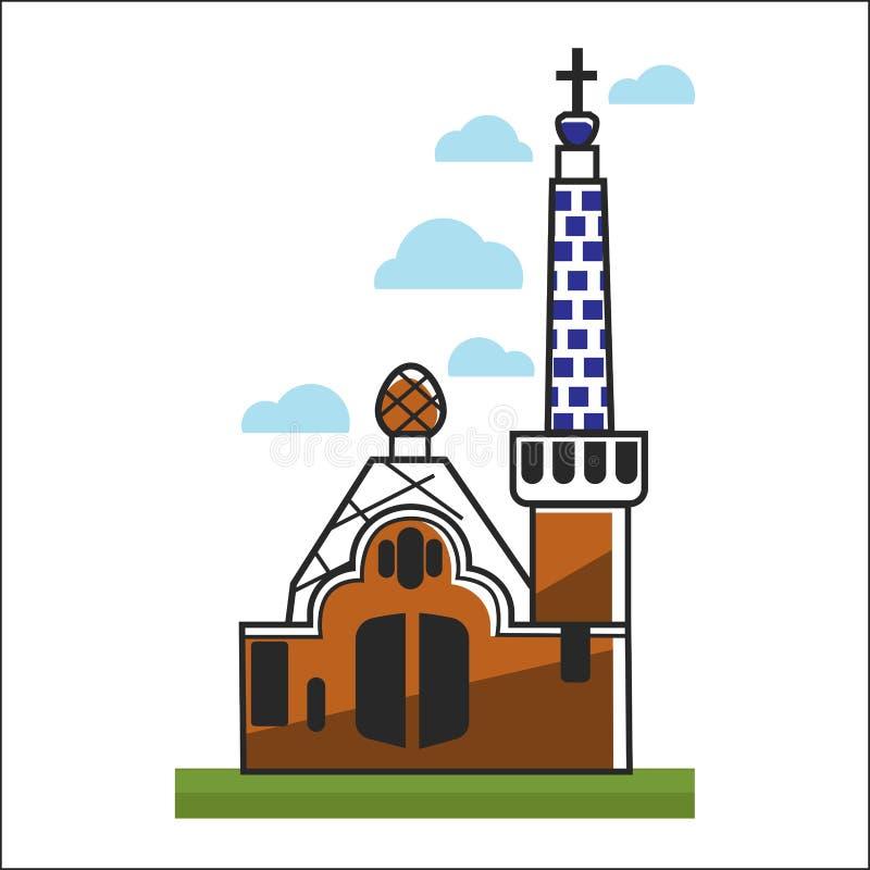 Spanien kyrka med stora portar och det höga tornet royaltyfri illustrationer
