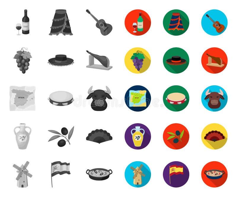Spanien-Land mono, flache Ikonen in gesetzter Sammlung für Entwurf Reise und Anziehungskr?fte vector Netzillustration des Symbols lizenzfreie abbildung