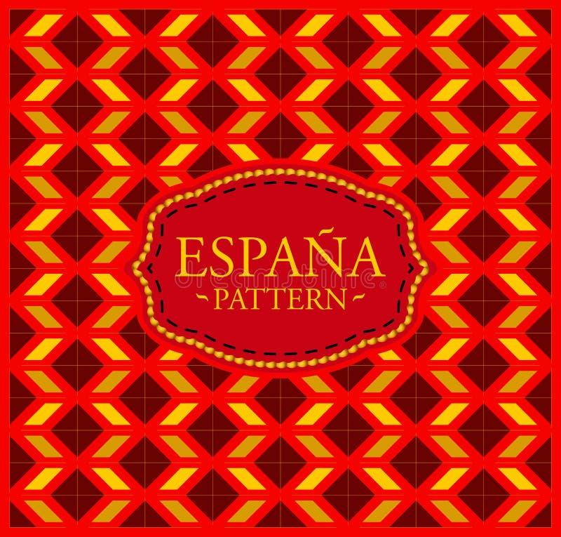 Spanien modell - sömlös bakgrundstextur och emblem vektor illustrationer
