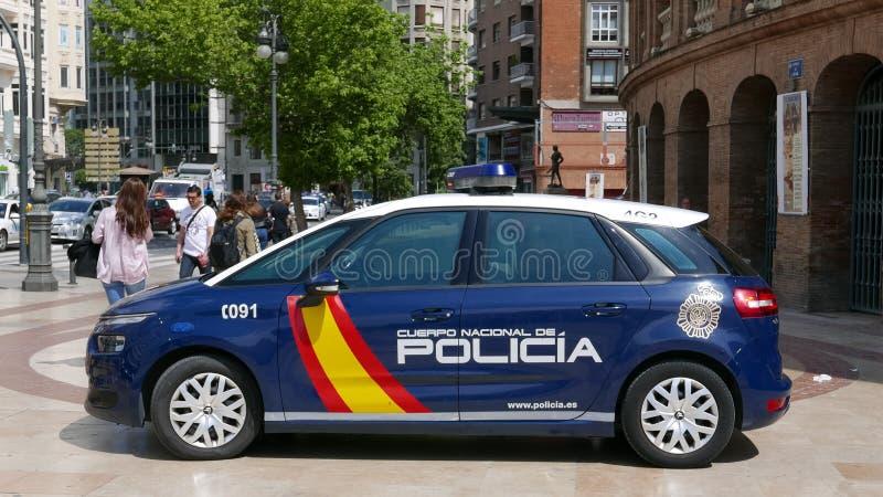 Spanien nationell polisbil offentligt royaltyfri bild