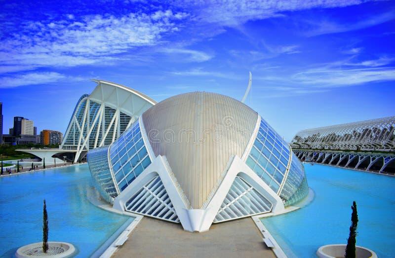 Spanien nya Valencia, Santiago Calatrava, stad av vetenskaper och konster som är hemisferic, konst, ny arkitektur royaltyfri fotografi