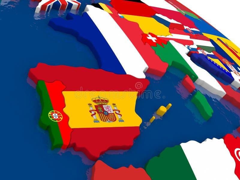 Spanien och Portugal på översikten 3D med flaggor vektor illustrationer