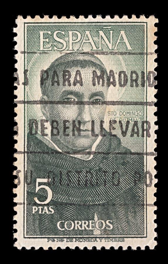 Spanien-Postenstempel mit Künstler Bartolommeo della Porta 28 03 1472-06 10 1517 besonders annulliert in Madrid stockfoto