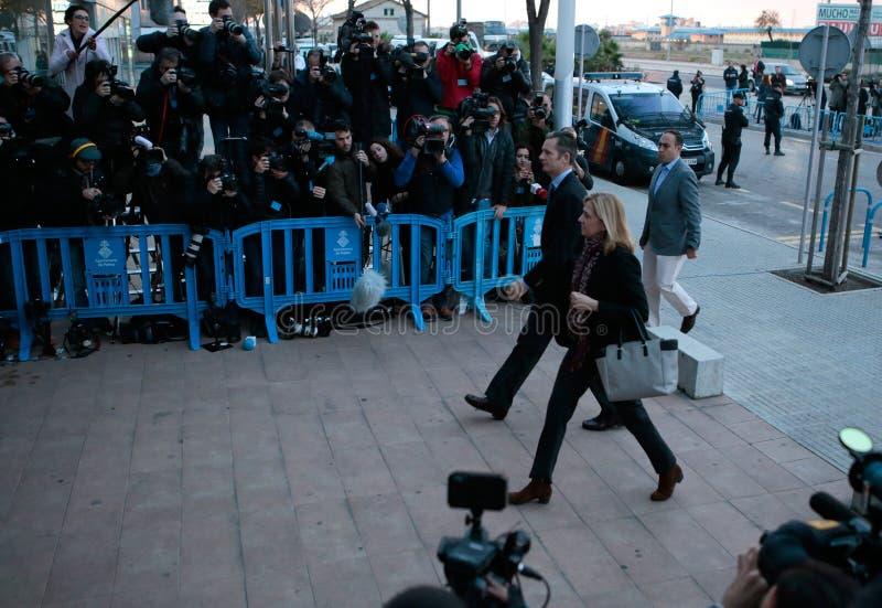 Spanien-Prinzessin Cristina, das zum legalen Gericht ankommt lizenzfreie stockfotos