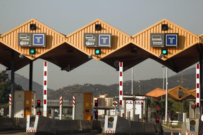 Spanien slutlig biljettpris, avgiftväg royaltyfria foton