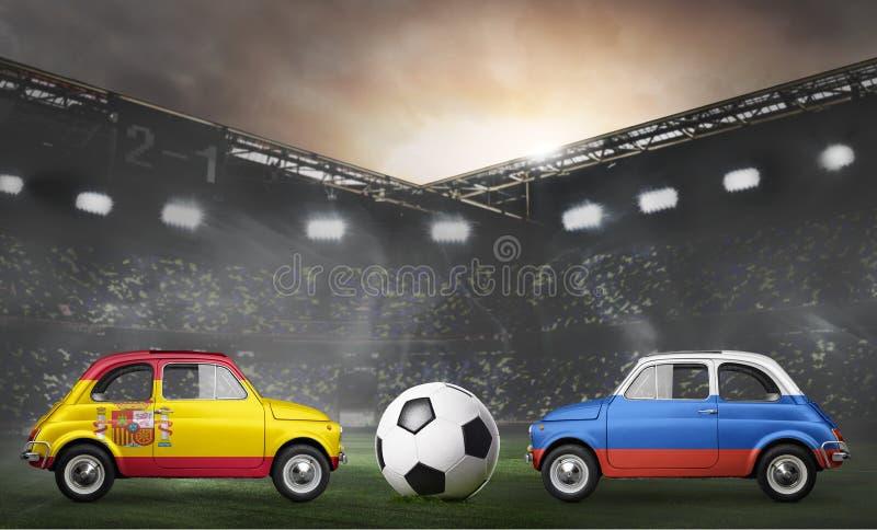 Spanien- und Russland-Autos auf Fußballstadion lizenzfreies stockfoto