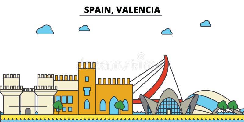 Spanien Valencia Stadshorisontarkitektur redigerbart royaltyfri illustrationer
