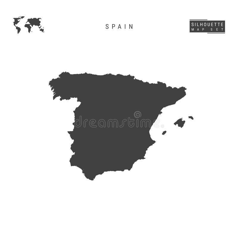 Spanien-Vektor-Karte lokalisiert auf weißem Hintergrund Hoch-ausführliche schwarze Schattenbild-Karte von Spanien vektor abbildung