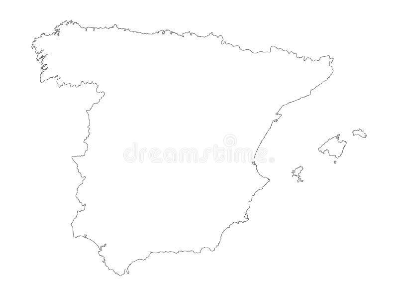 Spanien-Vektorkarten-Konturnschattenbild vektor abbildung