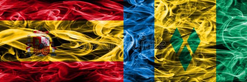 Spanien vs Saint Vincent och Grenadinerna rökflaggor förlade sid vektor illustrationer
