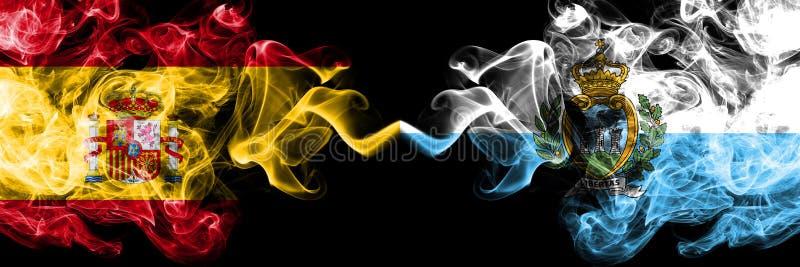Spanien vs San Marino, Sammarinese rökiga mystikerflaggor förlade sidan - vid - sidan Tjockt kulört silkeslent röker flaggan av s royaltyfri bild