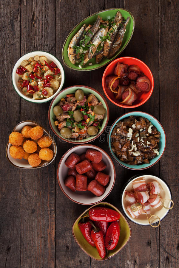 Spanis tapas food. Spanish tapas, cold buffet or appetizer food as served in bars stock images