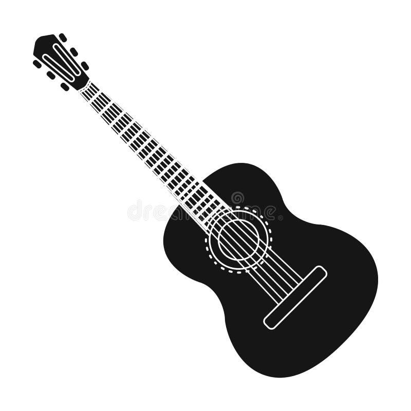 Spanische Akustikgitarreikone in der schwarzen Art lokalisiert auf weißem Hintergrund Spanien-Landsymbolvorrat-Vektorillustration stock abbildung